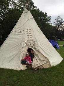 hiding in Granny's tent!
